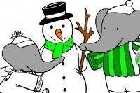 Colora Babar e il pupazzo di neve
